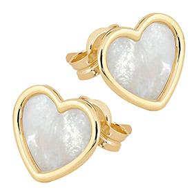 Kultaiset sydänkorvakorut, helmiäinen