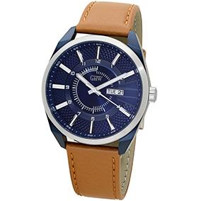 GHW miesten rannekello, sininen kellotaulu, ruskea nahkaranneke