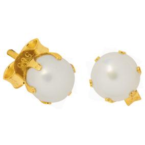 Kultaiset helmikorvakorut, kruunuistutus, 5 mm