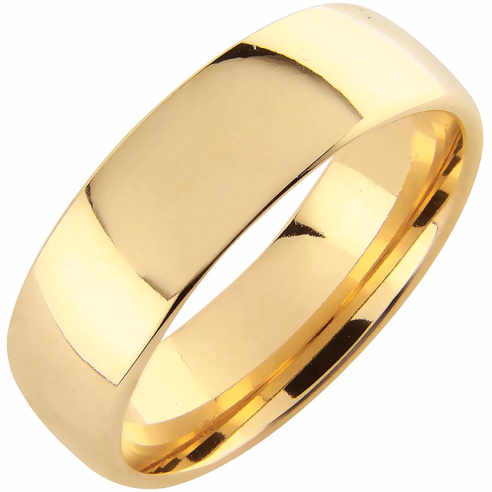 Schalins kultainen kihlasormus 7 mm, pyöreä sisäpinta