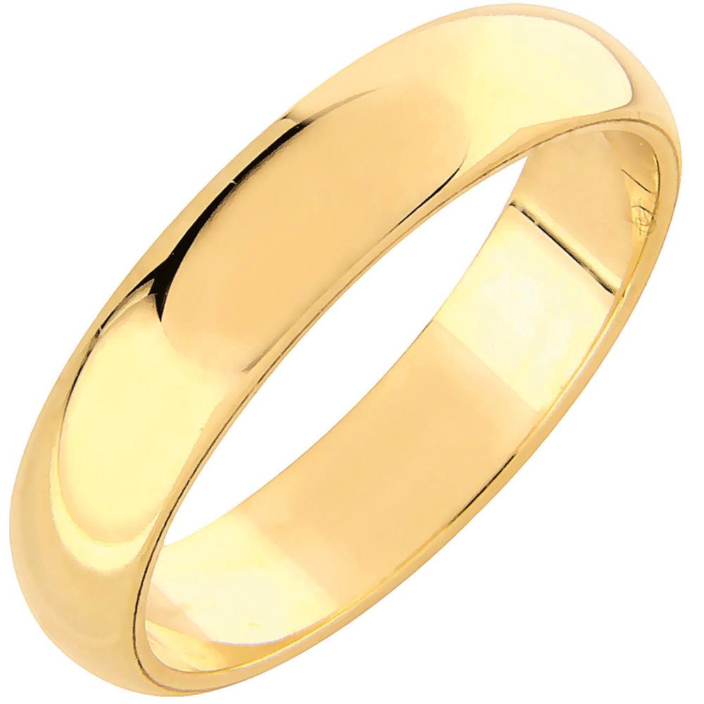 AuMore kultainen kihlasormus 4,5 mm, puolipyöreä