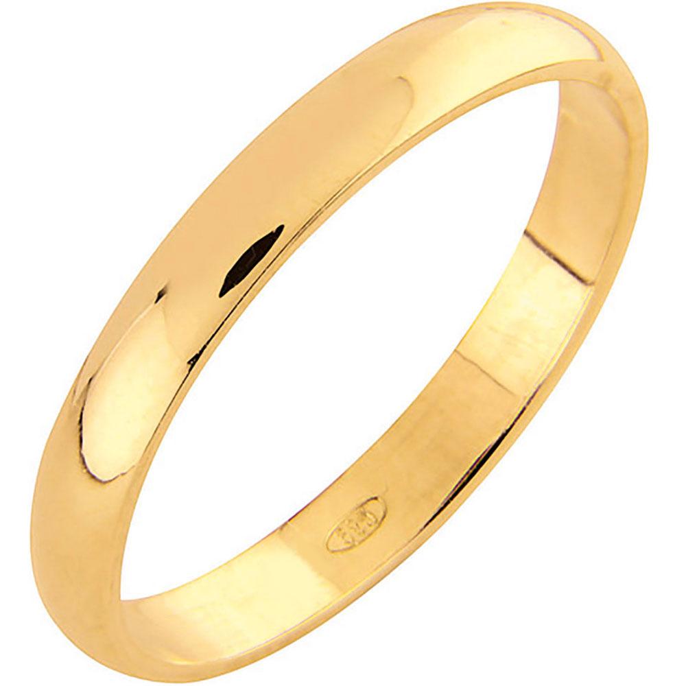 AuMore kultainen kihlasormus 3 mm, puolipyöreä