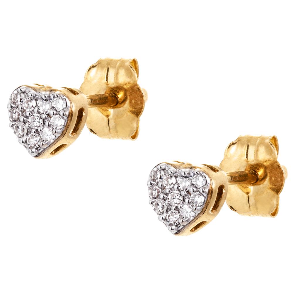 Kultaiset timanttikorvakorut 0,06ct, sydän