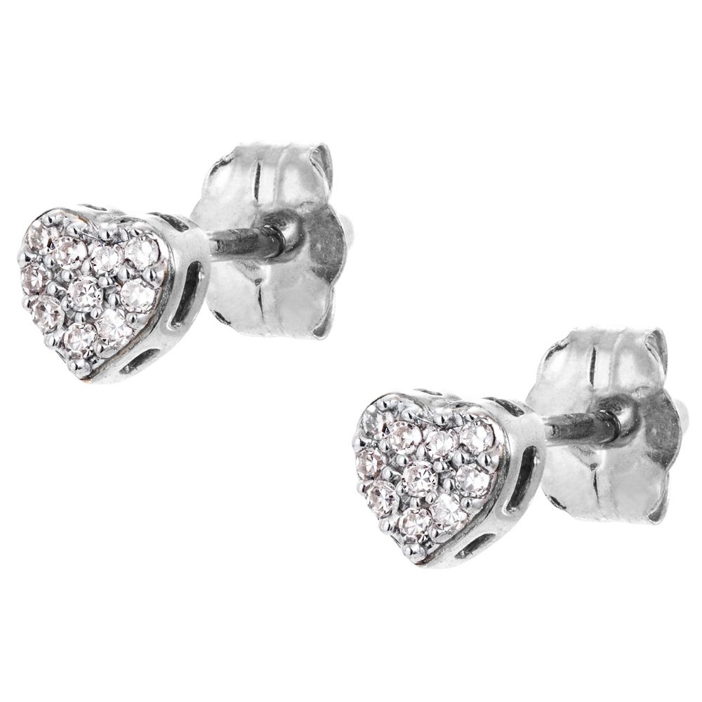 Valkokultaiset timanttikorvakorut 0,06ct, sydän