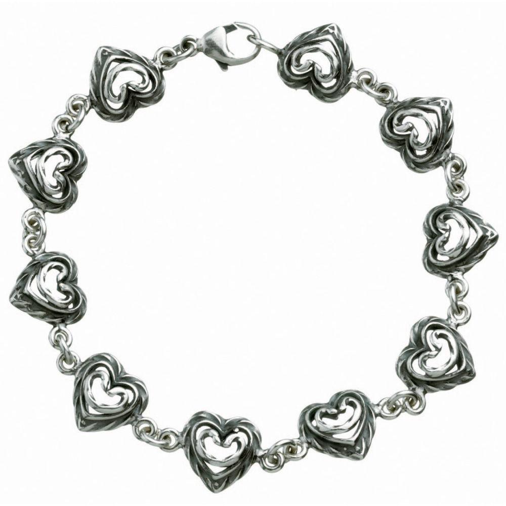 Kalevala Talon sydän rannekoru, sydämet, hopea