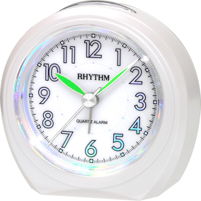 Rhythm valkoinen herätyskello holorgammi