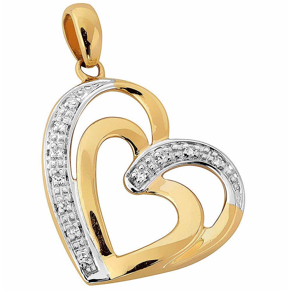 Kultainen timanttiriipus 0,04ct, tuplasydän