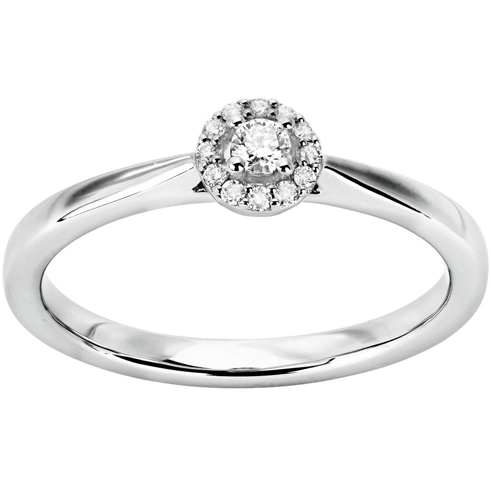 Naisten valkokultainen timanttisormus 0,10ct