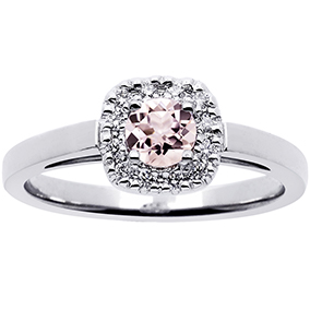 Princess timanttisormus morganiitilla 0,12ct 14K