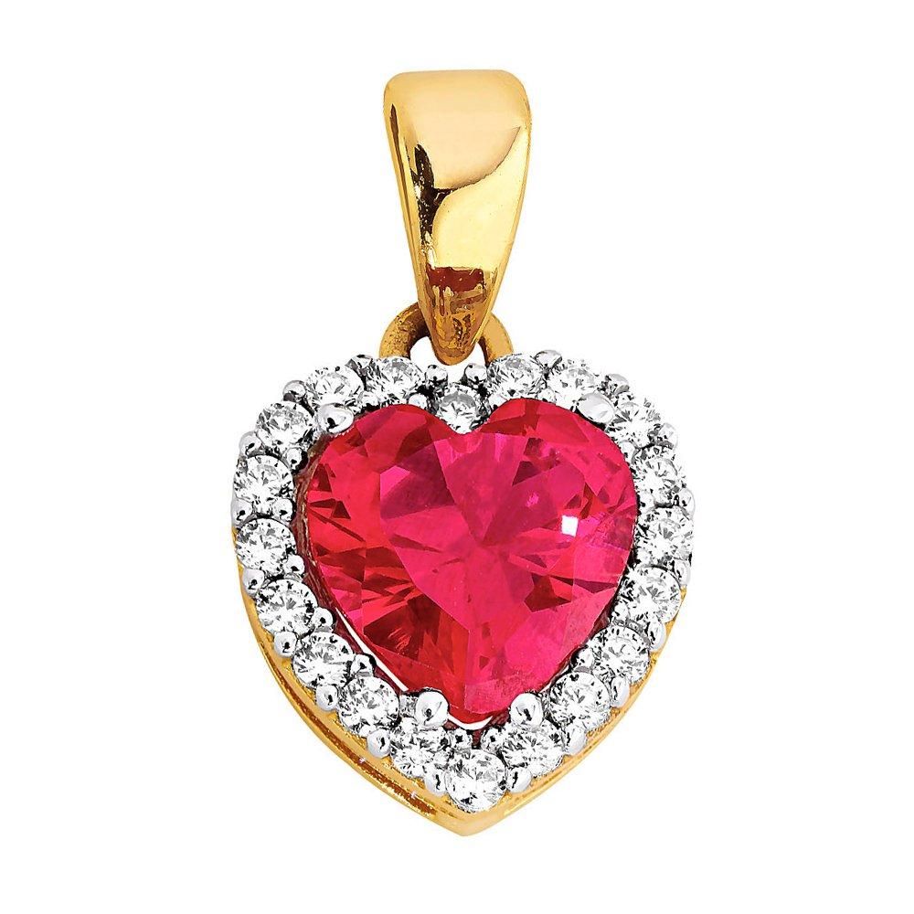 Kultainen zirkoniariipus, sydän, synteettinen rubiini