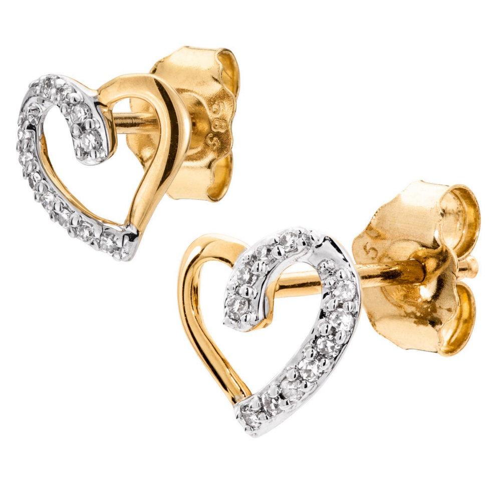 Naisten timanttikorvakorut 0,05ct, sydän