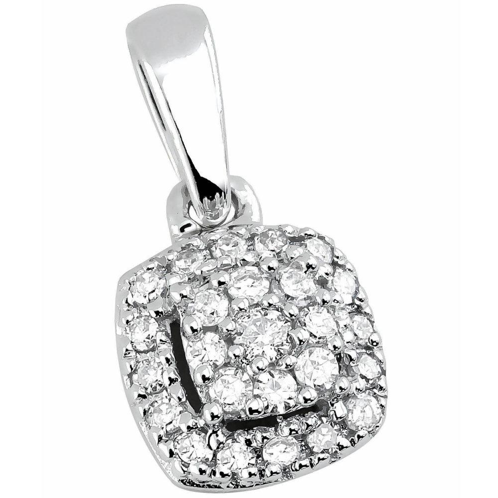Valkokultainen timanttiriipus, neliö 0,10ct