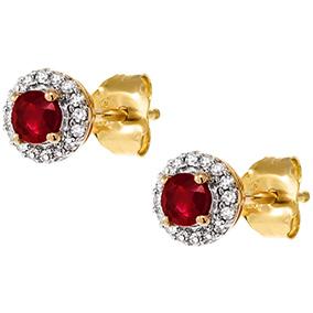 Kultaiset timantti-rubiinikorvakorut 0,08ct