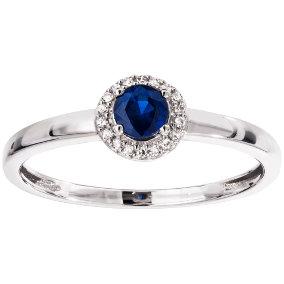Valkokultainen timantti-safiirisormus 0,04ct