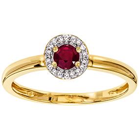 Kultainen timantti-rubiinisormus 0,04ct