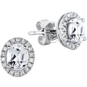 Valkokultaiset timantti-topaasikorvakorut 0,12ct