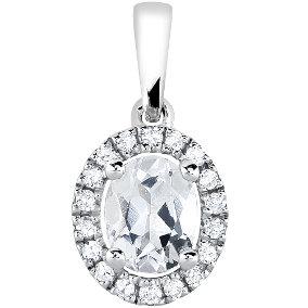 Naisten timantti-topaasiriipus 0,07ct, valkokulta