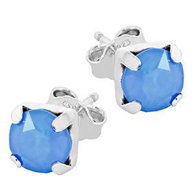 Mood hopeiset korvakorut, sininen kristalli