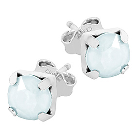 Mood hopeiset korvakorut, vihreä kristalli