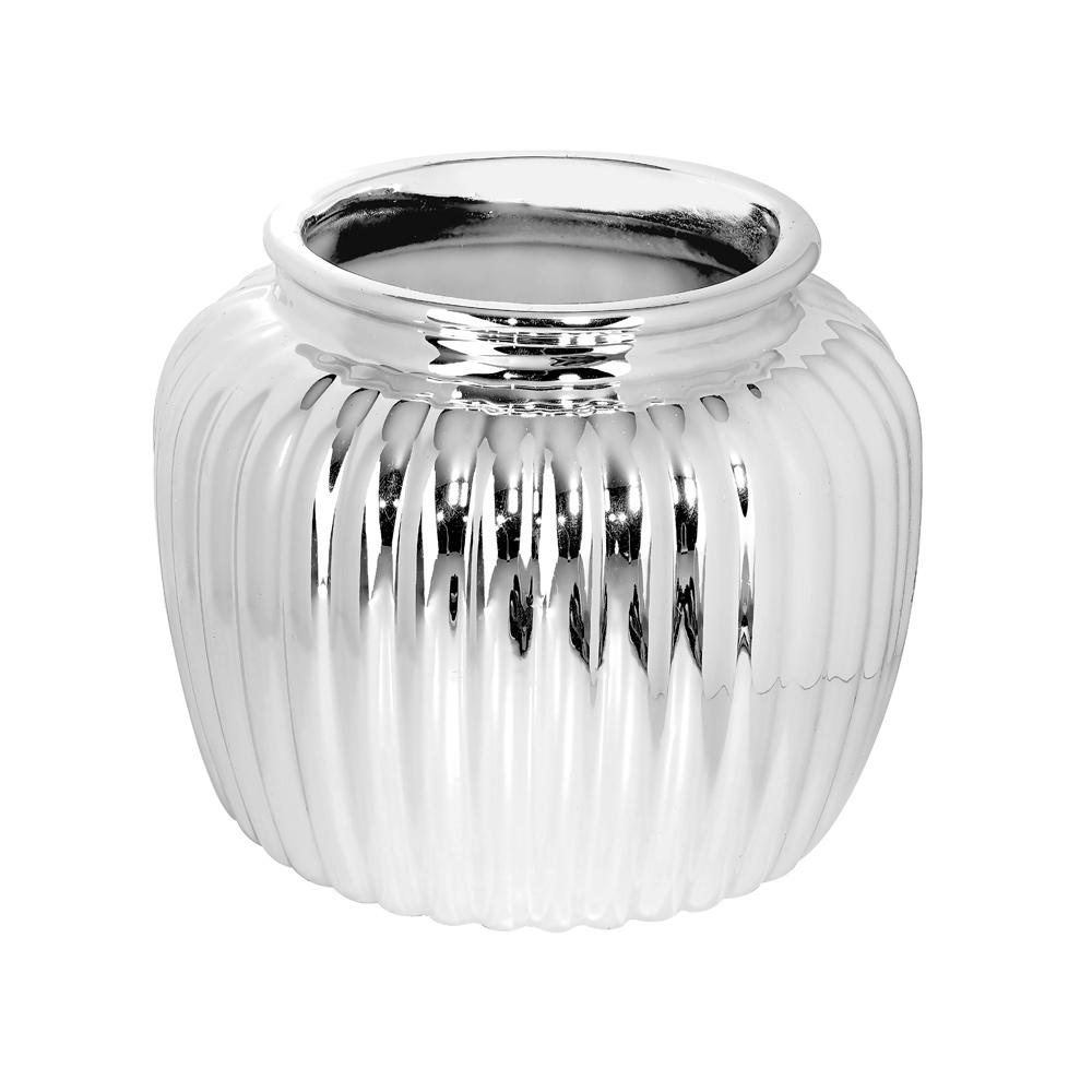 Pyöreä hopeanvärinen maljakko