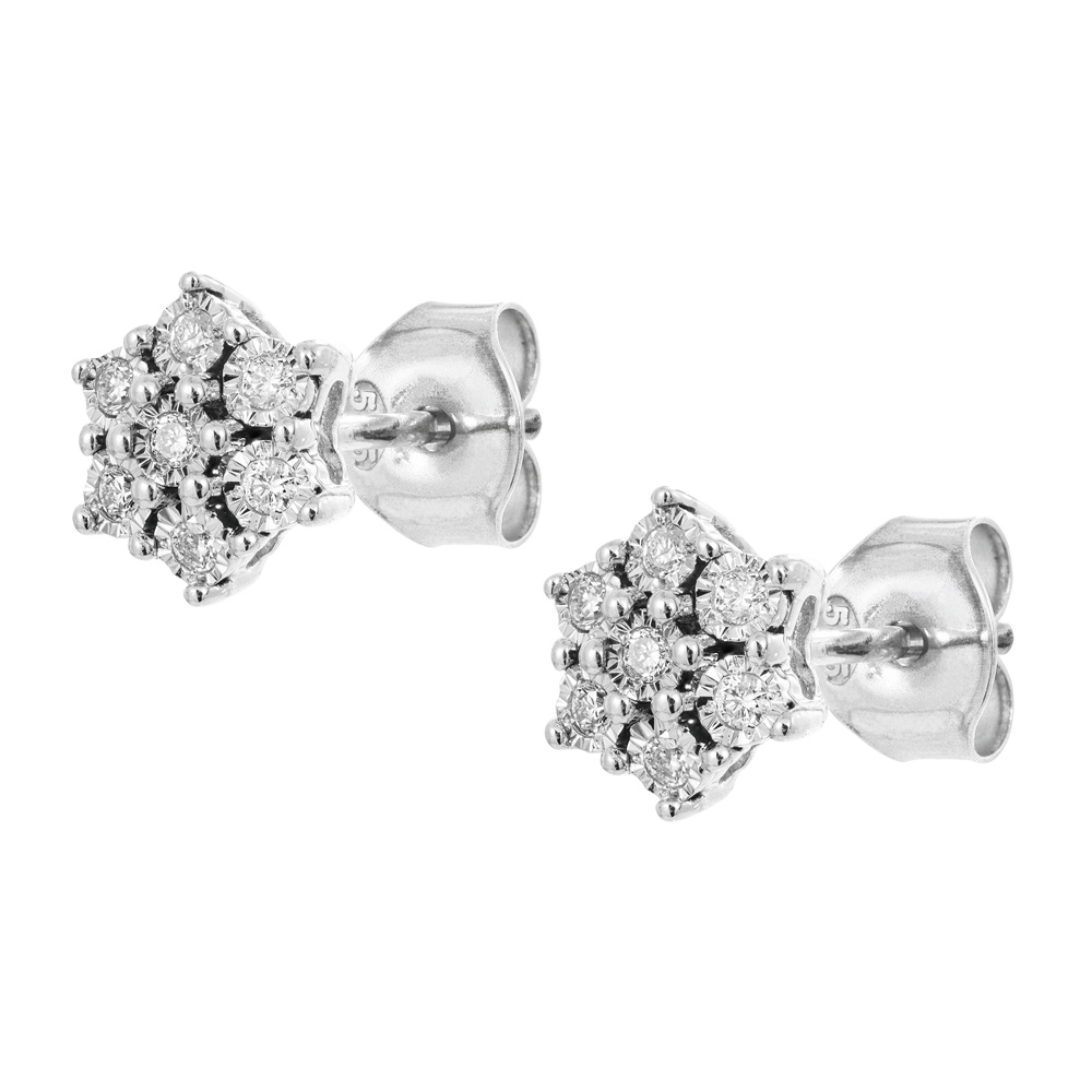 Valkokultaiset timanttikorvakorut 0,09ct, tähti