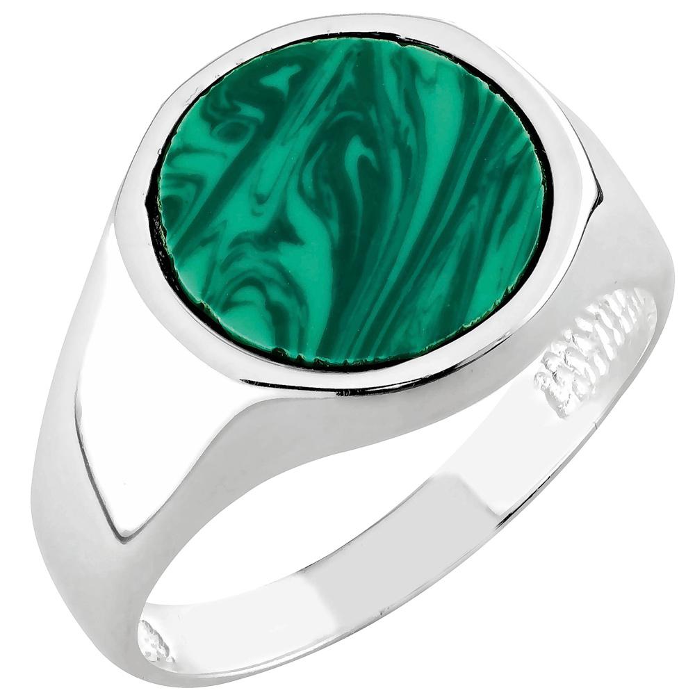 Hopeinen kantasormus, synteettinen vihreä kivi