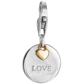 Mood Charms Love sydän pyöreä  riipus pikalukolla