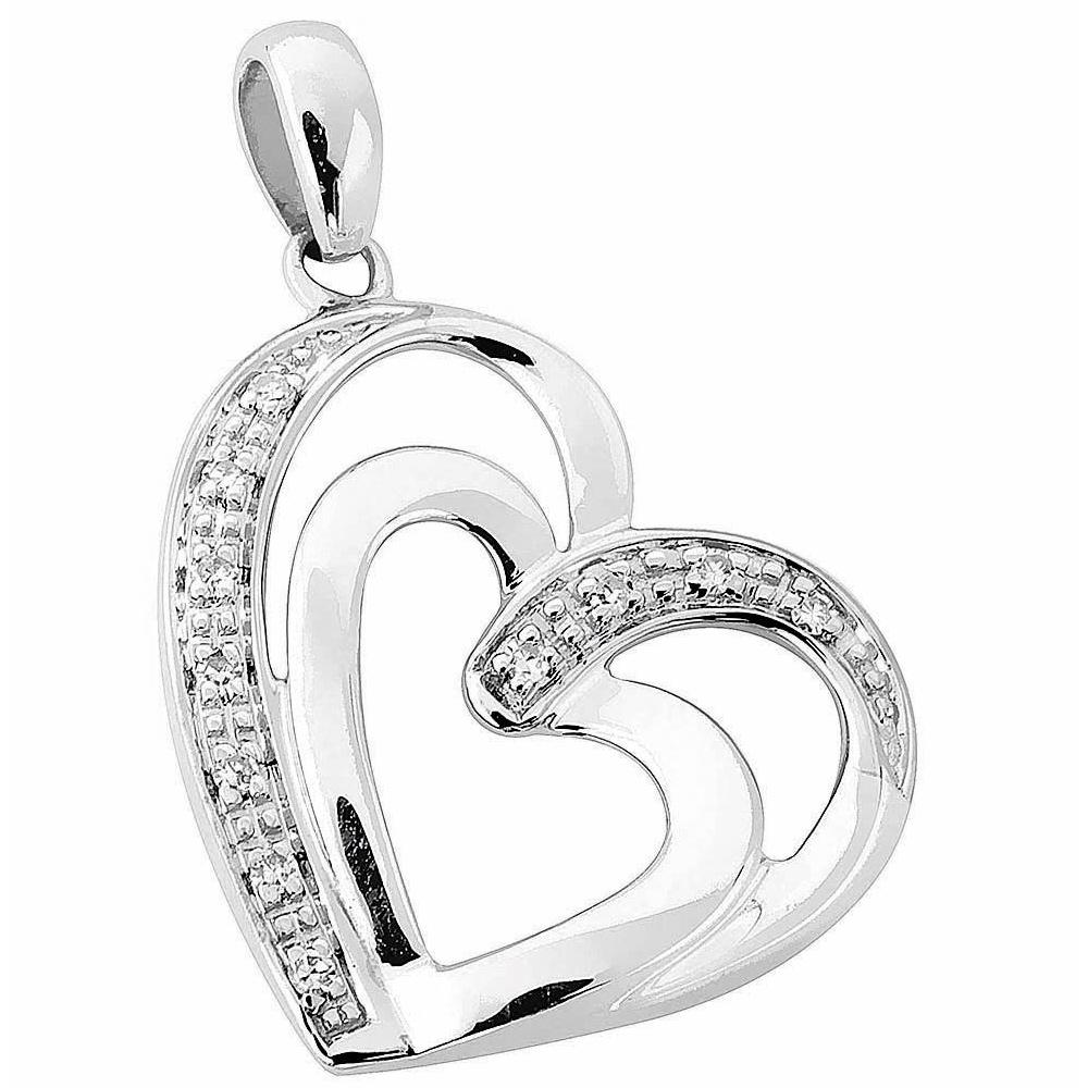 Valkokultainen timanttiriipus, tuplasydän 0,04ct