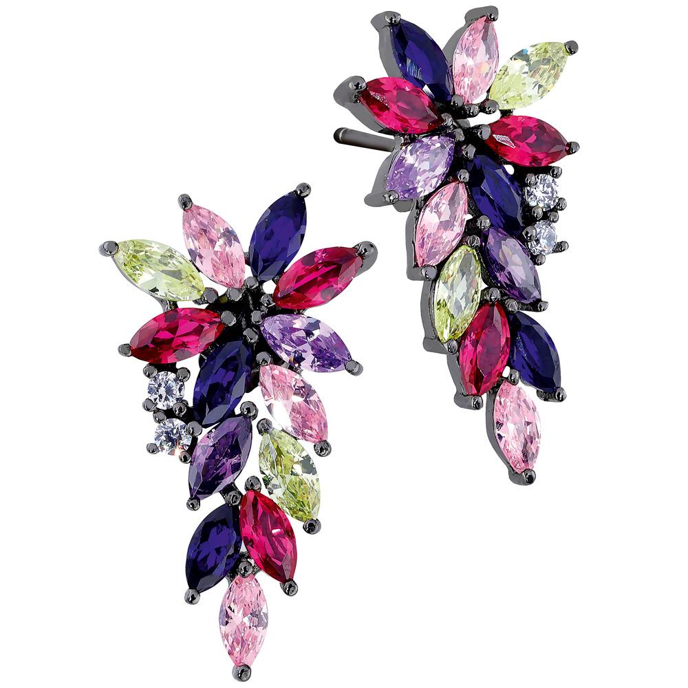 Hopeiset kukkakorvakorut, eriväriset zirkoniakivet