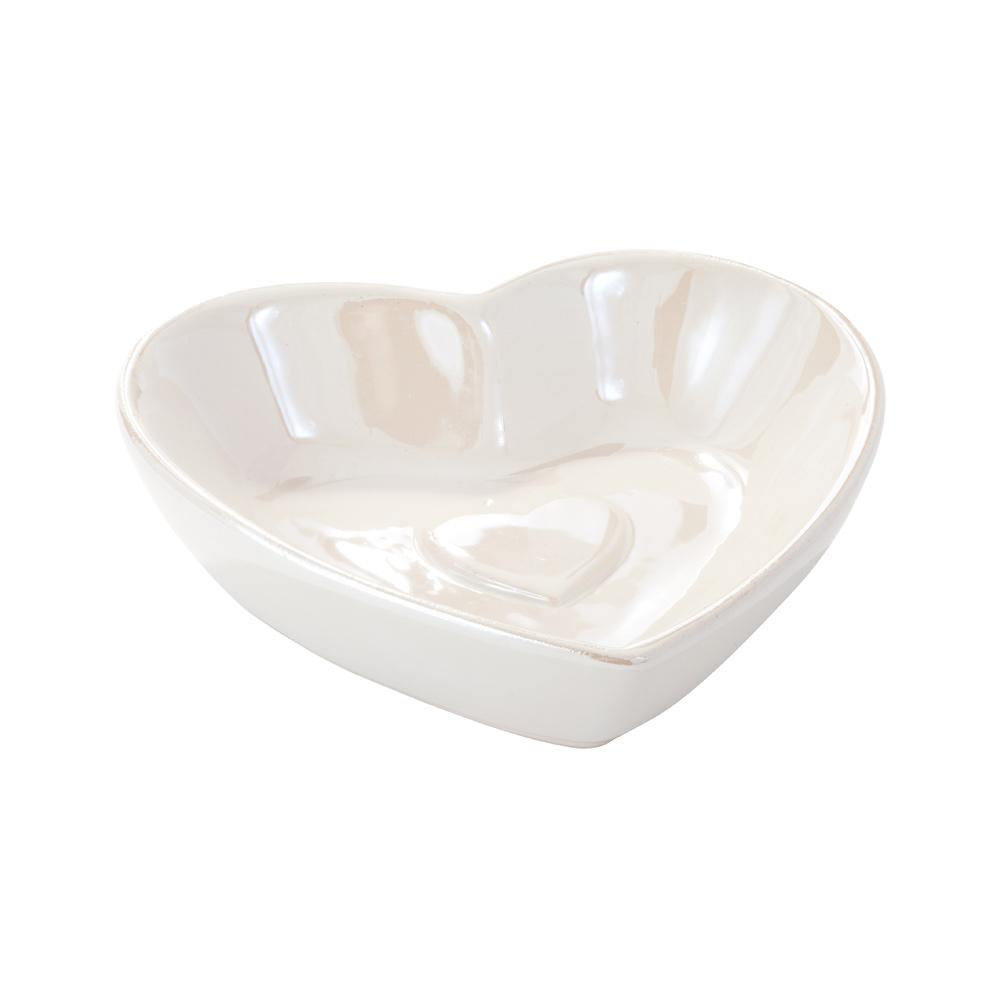 Valkoinen sydänlautanen 9 cm