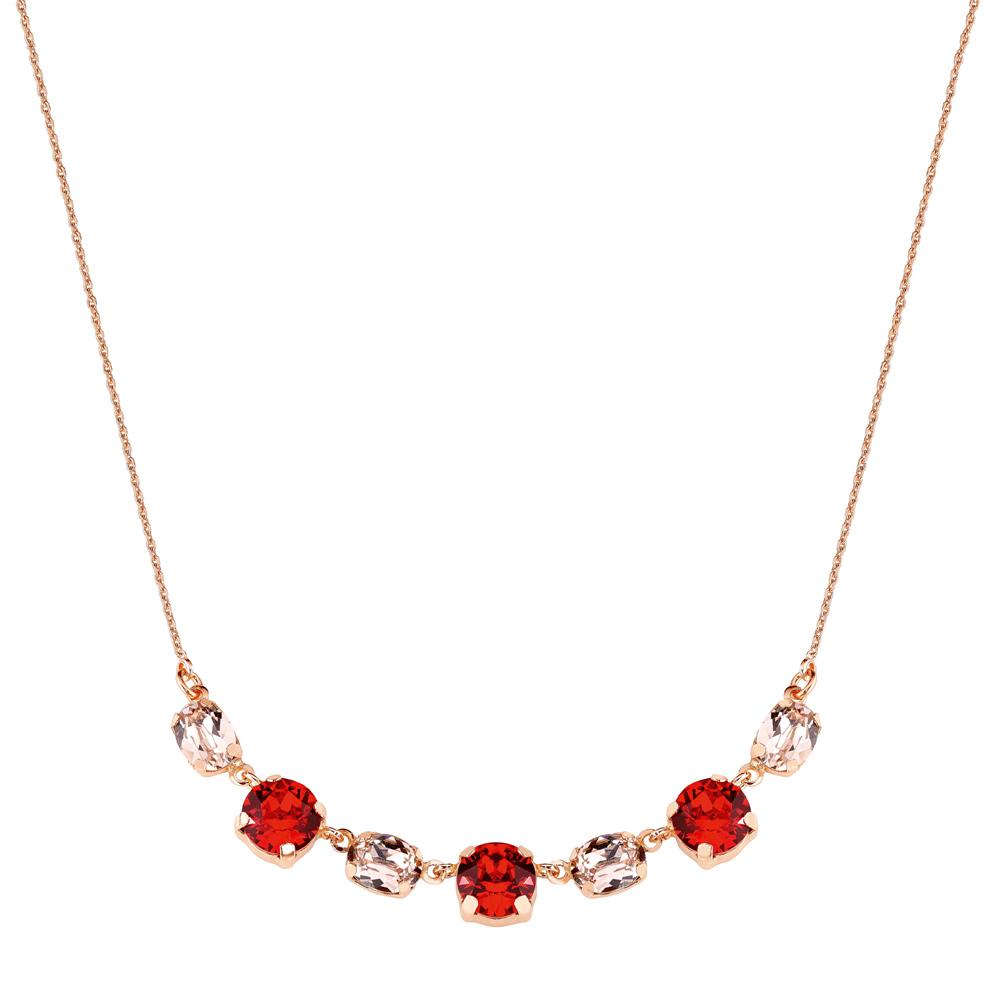 Mood hopeinen kaulakoru, punaiset Swarovskin kristallit