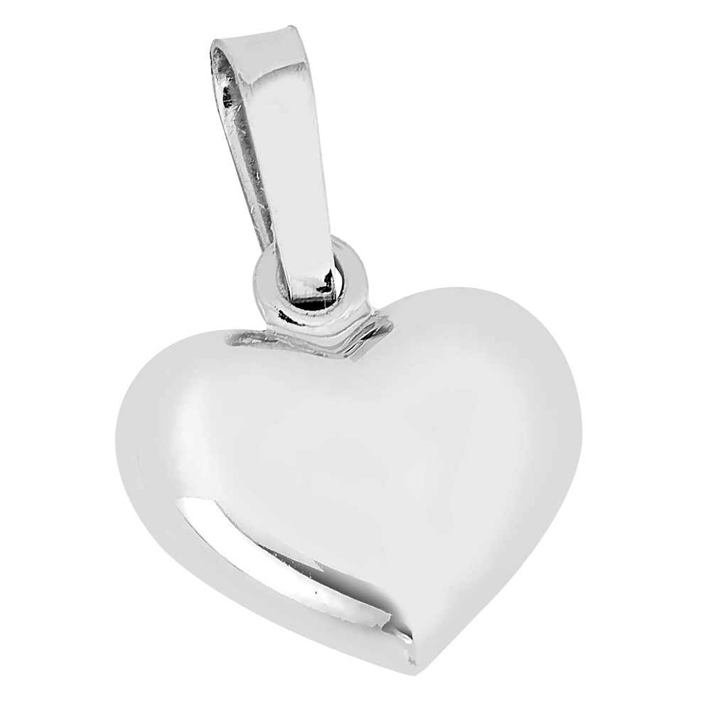 Valkokultainen pieni pullea sydänriipus 10 mm