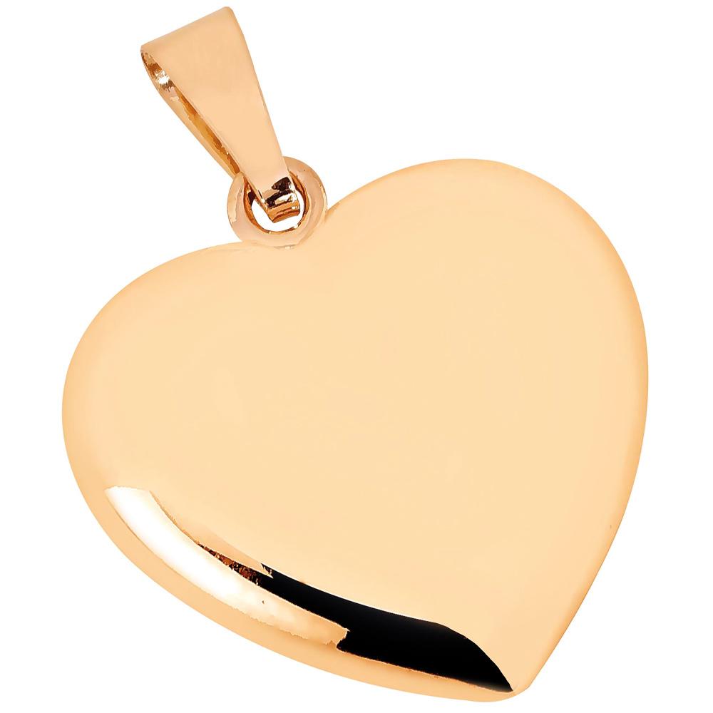 Kultainen iso pullea sydänriipus 17 mm