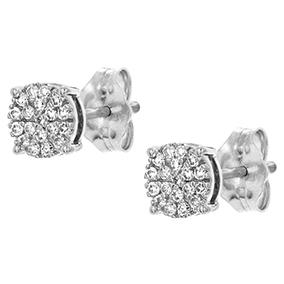 Valkokultaiset timanttikorvakorut 0,15ct, kukka