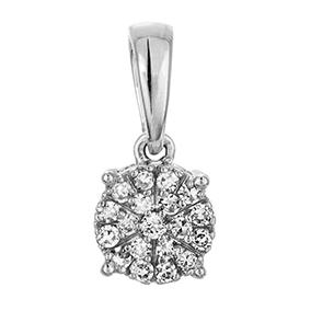 Valkokultainen timanttiriipus 0,07ct, kukka