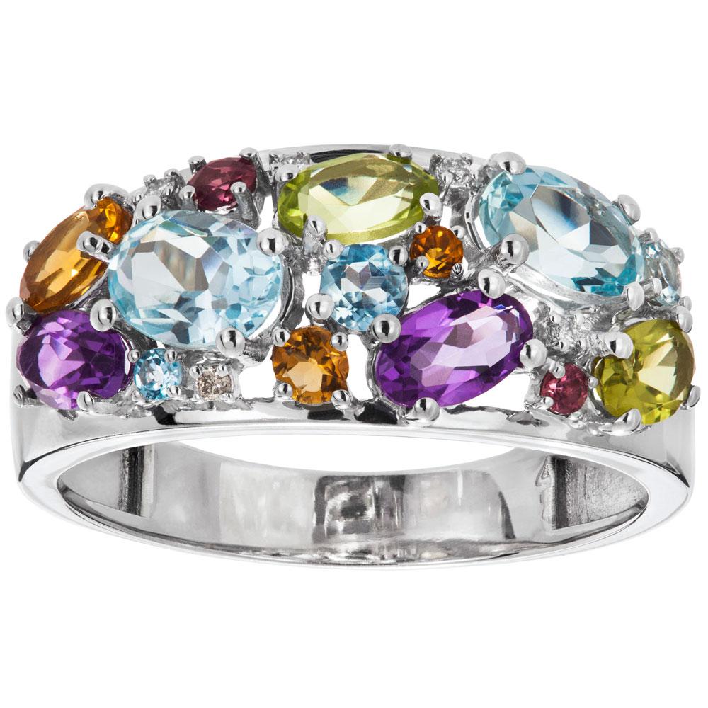 Valkokultainen timanttisormus 0,02ct, värikivet