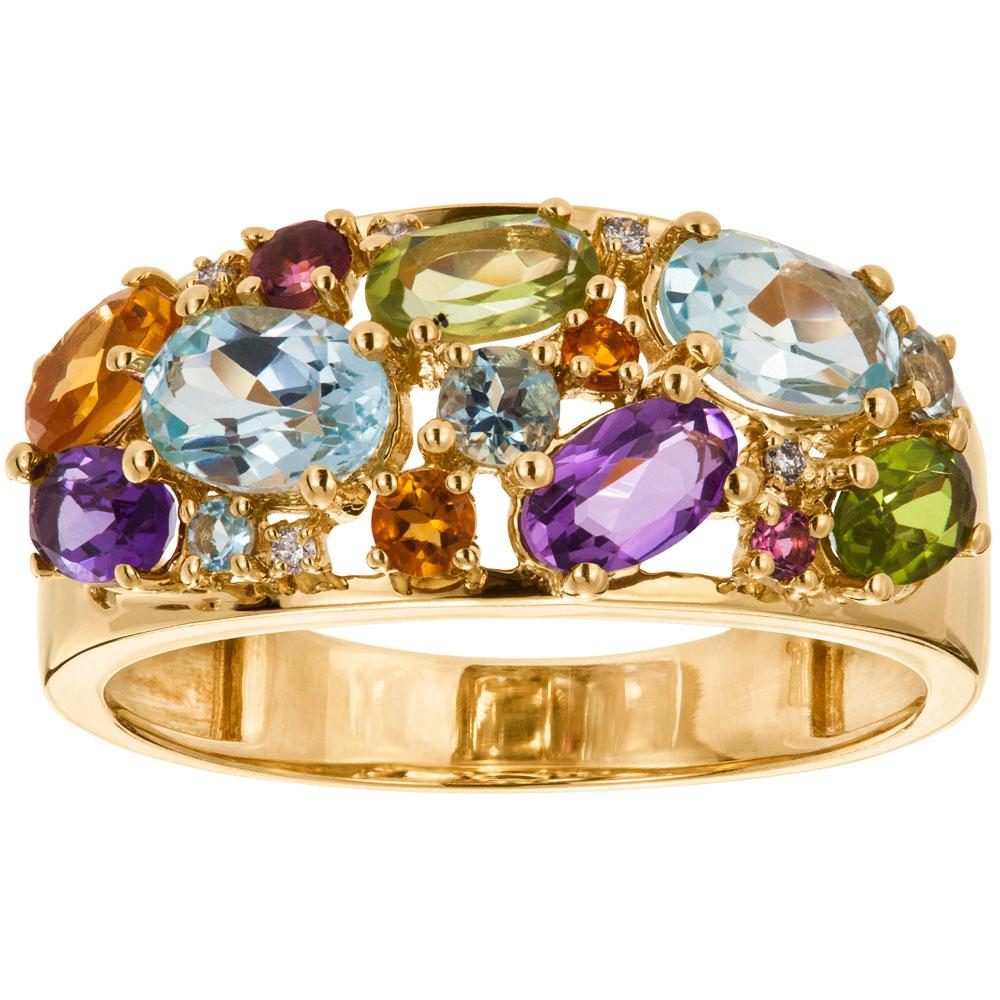 Keltakultainen timanttisormus 0,02ct, värikivet