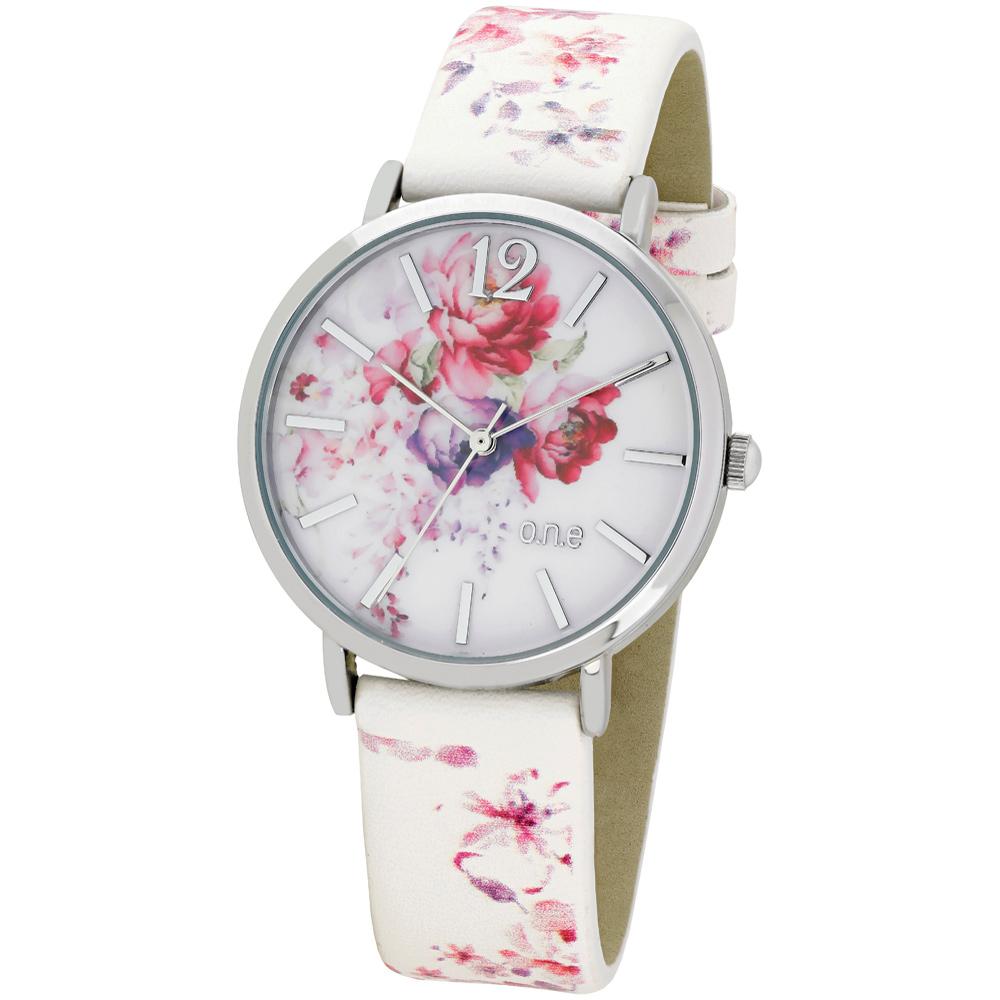 o.n.e rannekello, valkoinen, kukkia