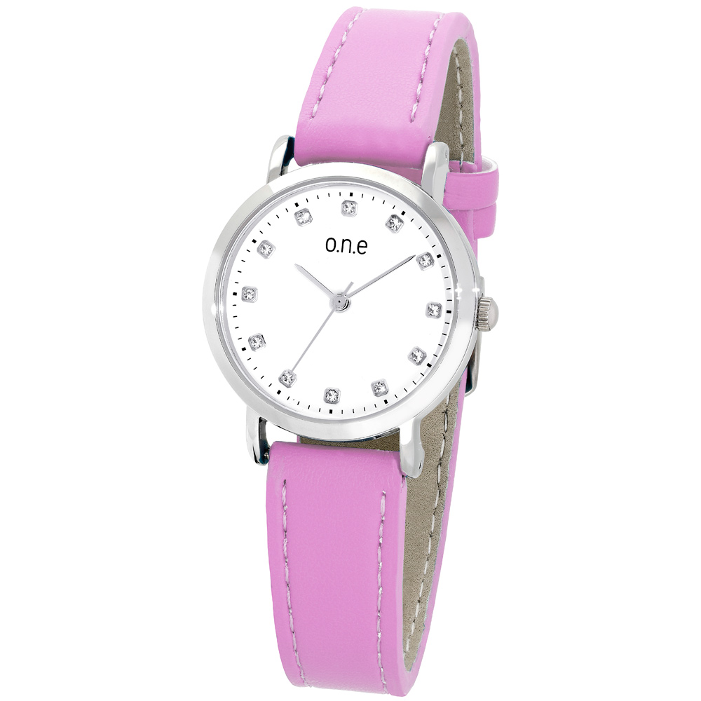 o.n.e rannekello, valkoinen kellotaulu, pinkki ranneke