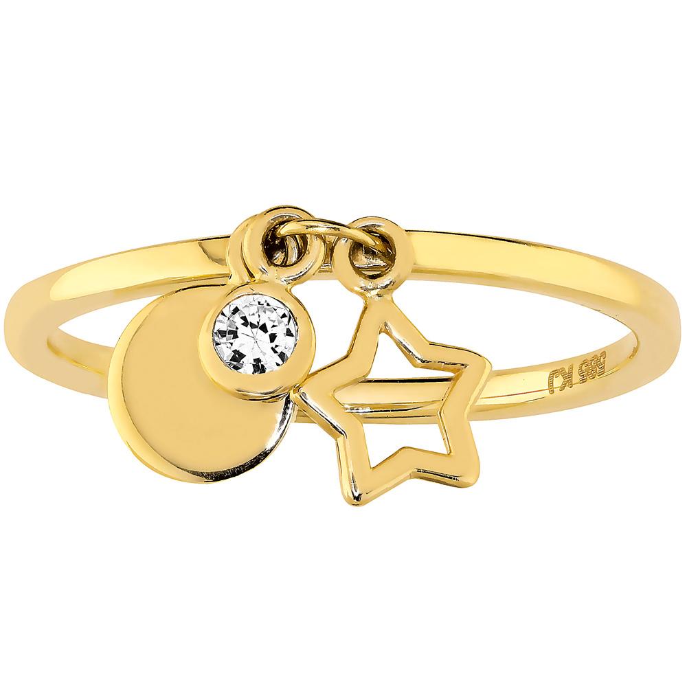 Kultasormus, roikkuva tähti, laatta ja zirkoniakivi