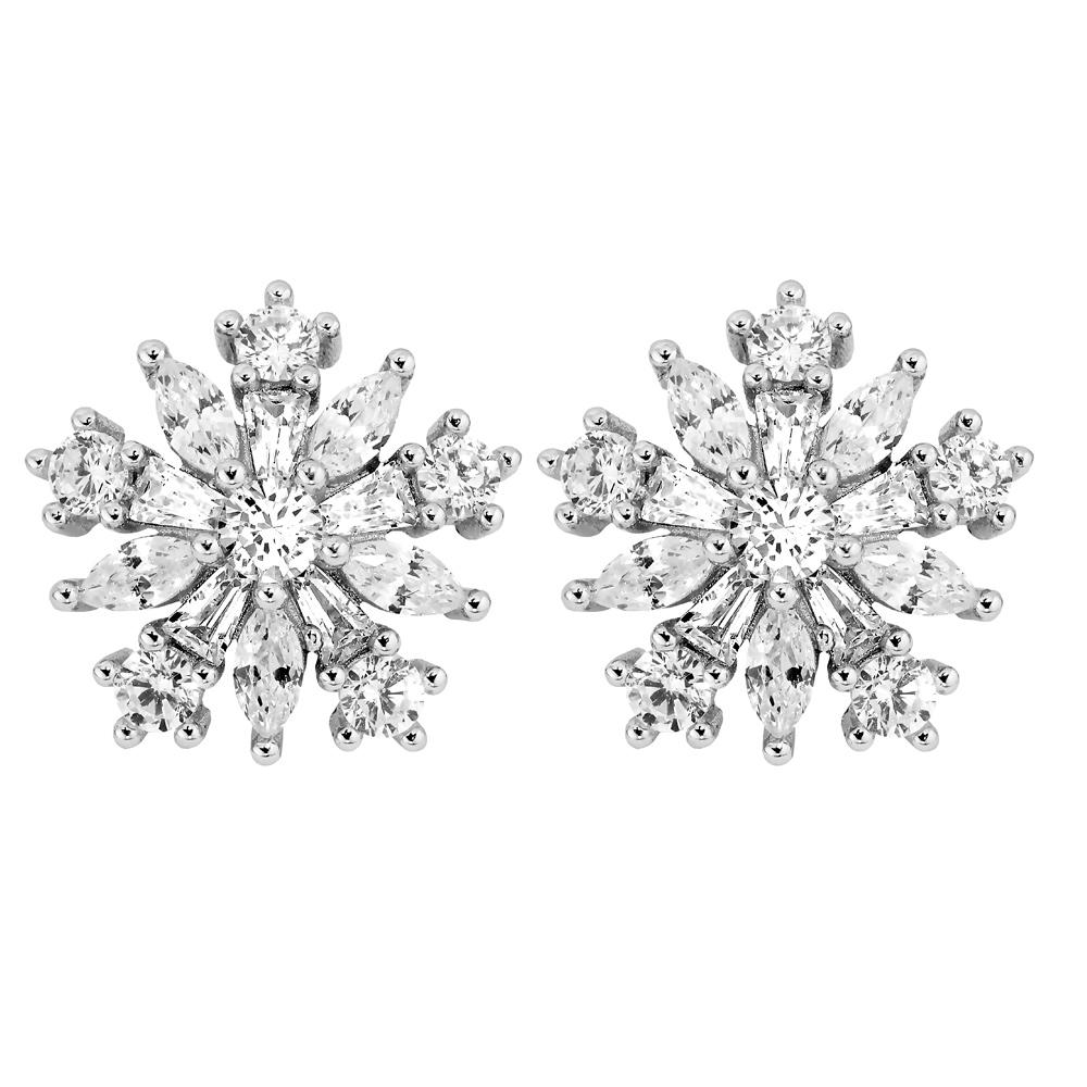 Mood hopeiset korvakorut, kristallikukat