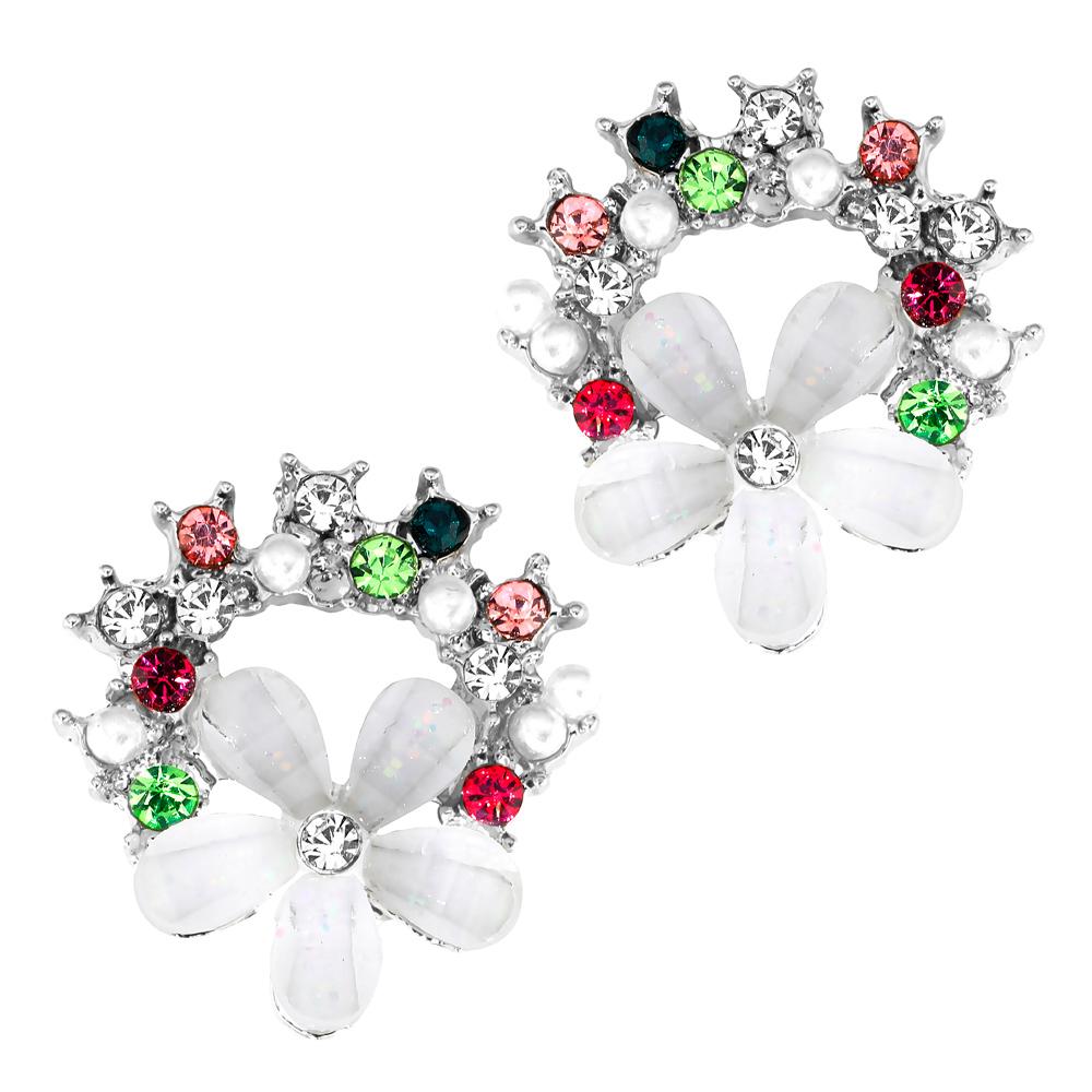 Valkoiset kukkakorvakorut, värikiviviuhka