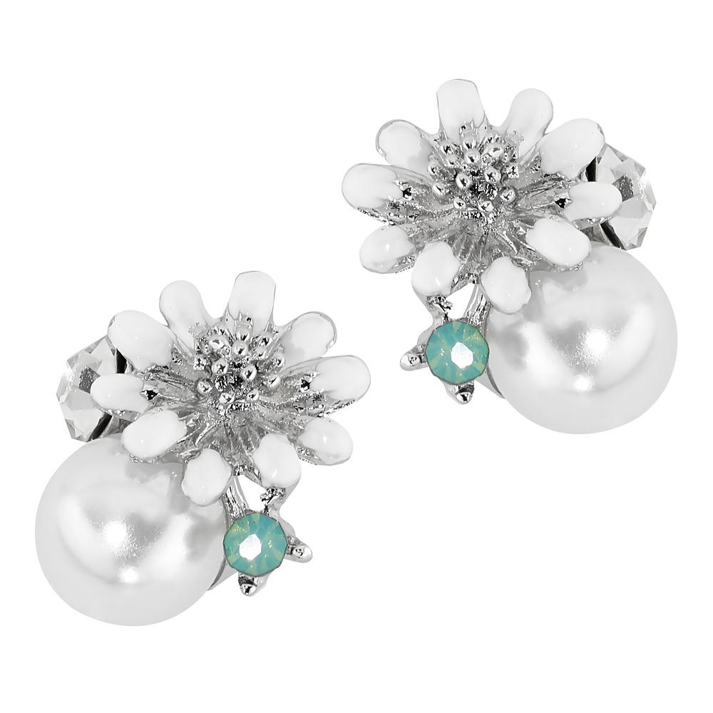 Valkoiset kukkakorvakorut, vihreä kivi