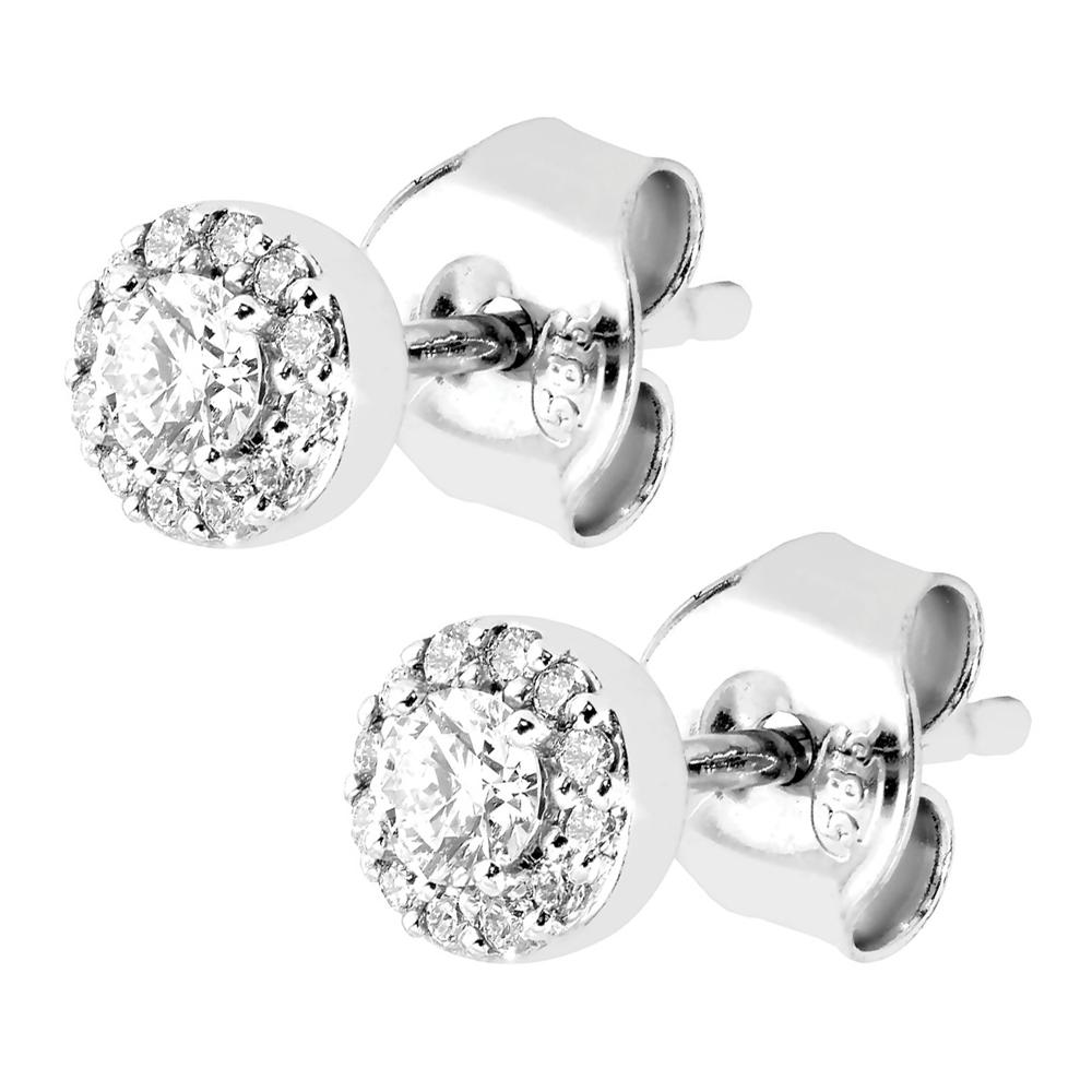 Valkokultaiset pyöreät timanttikorvakorut 0,20ct