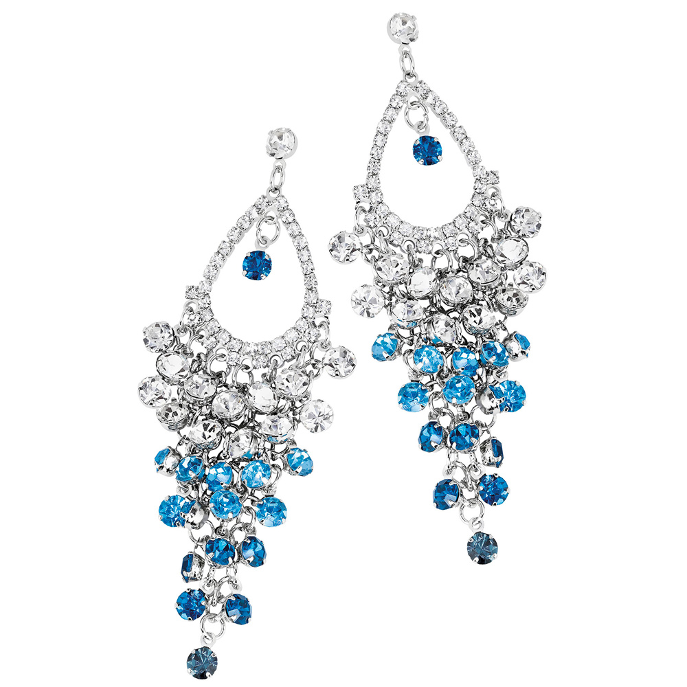 Roikkuvat korvakorut, siniset ja kirkkaat glitterkivet