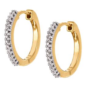 Kultaiset timanttikorvakorut 0,11ct, renkaat