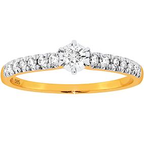 Kultainen timanttisormus 0,34ct, solitaire ja sivukivet