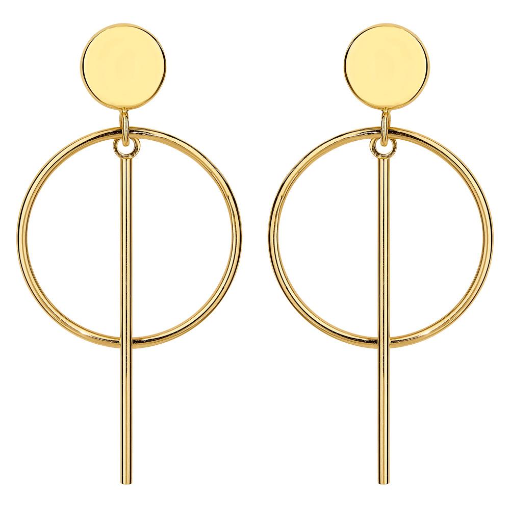 Kultaiset roikkuvat korvakorut, ympyrä ja palkki