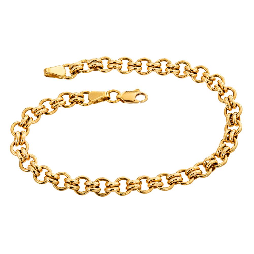 Kultainen rannekoru, tuplalenkit 18,5 cm