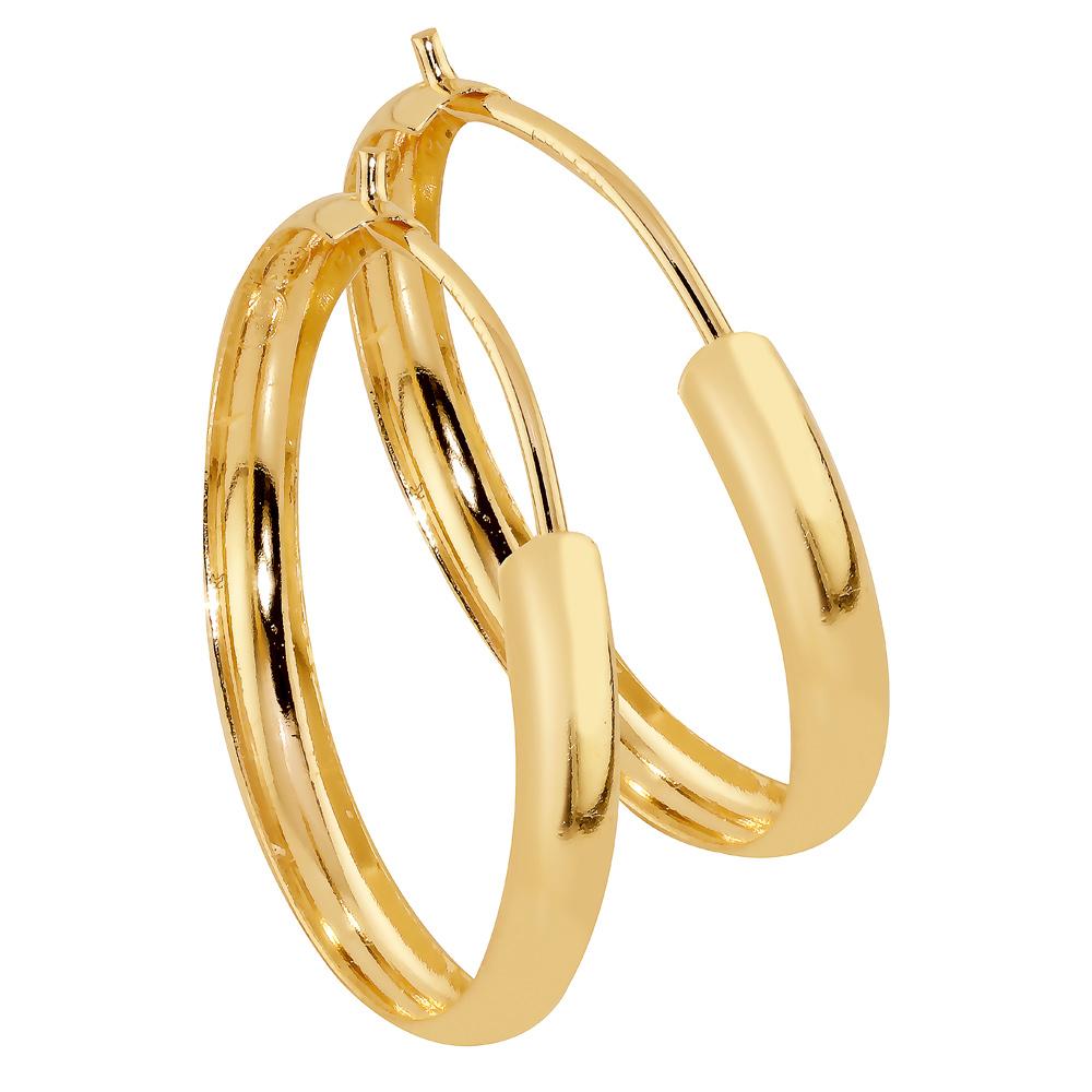 Kultaiset puolipyöreät rengaskorvakorut 15 mm